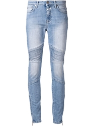 Closed Ribbed Panel Ankle Zip Jeans Blue