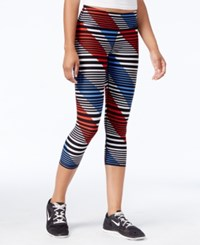 Tommy Hilfiger Striped Cropped Active Leggings Black Combo