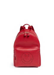 Anya Hindmarch 'Smiley' Leather Backpack Red