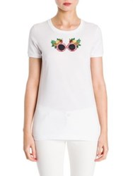 Dolce And Gabbana Short Sleeve Embroidered Tee White