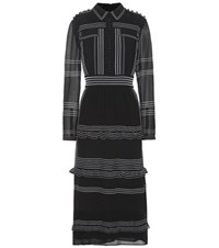 Burberry Embroidered Silk Dress Black
