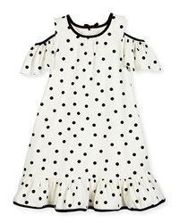 Kate Spade Girls' Cold Shoulder Polka Dot Dress White Black Size 2 6 White Black