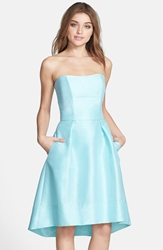 Alfred Sung Strapless High Low Dupioni Dress Seaside