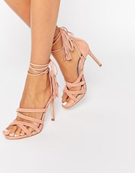 Faith Daft Pink Suede Ghillie Tie Up Heeled Sandals Salmon Pink