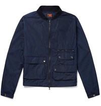 The Workers Club Cotton Shell Bomber Jacket Navy