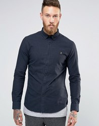 Farah Oxford Shirt With Black Weft In Slim Fit Navy Navy