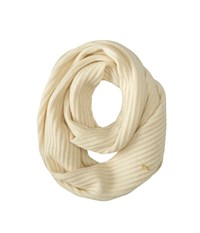 Cole Haan Diagonal Rib Infinity Scarf Ivory Scarves White