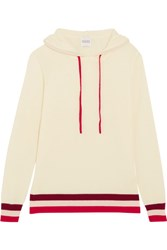 Madeleine Thompson Dalton Striped Cashmere Hooded Top Ivory