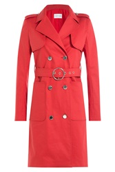 Courreges Cotton Blend Trench Coat Red