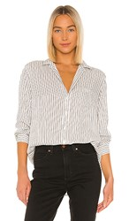 Frank And Eileen Button Down In White. Black Double Stripe