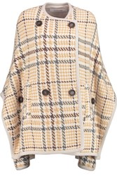 See By Chloe Checked Wool Blend Cape Yellow
