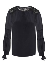 Rebecca Taylor Sarah Lace Panel Silk Blouse Navy