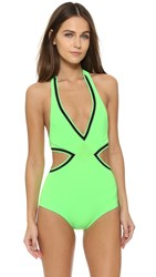 Karla Colletto Pinking Monokini Neon Green Black