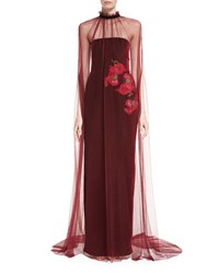Monique Lhuillier Tulle Cape With Velvet Tie Wine