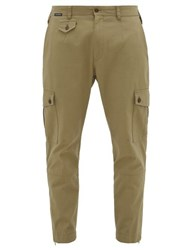 Dolce And Gabbana Logo Patch Cotton Blend Cargo Trousers Beige