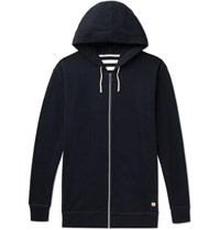 Armor Lux Striped Cotton Jersey Hoodie Midnight Blue