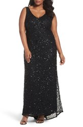 Adrianna Papell Plus Size Women's Sequin A Line Gown Black