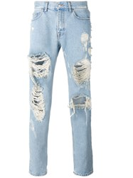 Msgm Distressed Loose Fit Jeans Blue