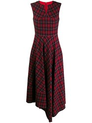 Talbot Runhof Tartan Print Long Dress Red