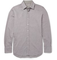 Canali Slim Fit Gingham Trimmed Cotton Twill Shirt Gray
