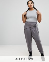 Asos Curve Wrap Front Drop Crotch Harem Trousers Charcoal Grey