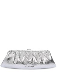 Balenciaga Xl Cloud Metallic Leather Clutch Silver