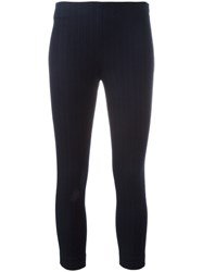 Joseph Pinstriped Cropped Leggings Blue