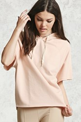 Forever 21 Boxy Short Sleeve Hoodie Pink