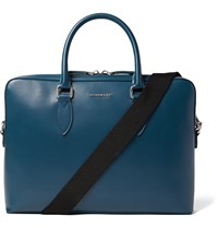 Burberry Cross Grain Leather Briefcase Blue