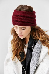 Ecote Super Wide Ribbed Ear Warmer Maroon