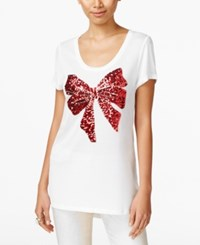 Inc International Concepts Sequined Bow Graphic T Shirt Only At Macy's Bright White