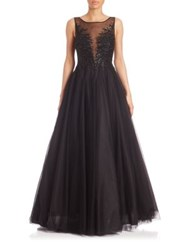 Basix Black Label Embellished Illusion Ball Gown Black