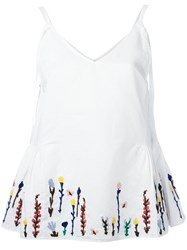 Mih Jeans Embroidered Flowers Cami White
