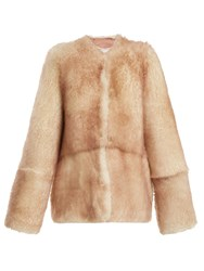 Raey 1970S Tipped Shearling Coat Pink Multi