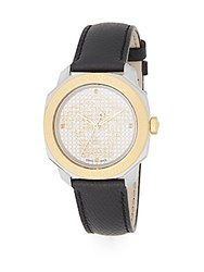 Versace Dylos Goldtone Stainless Steel And Pebbled Leather Watch Black