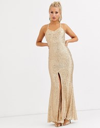 Jarlo Cami Strap Sequin Gown With Back Detail In Gold