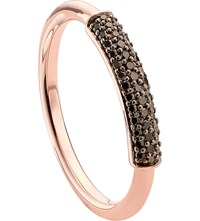 Monica Vinader Stellar 18Ct Rose Gold Plated Vermeil And Black Diamond Ring