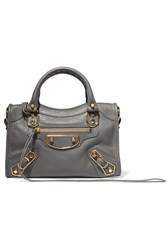 Balenciaga Metallic Edge City Mini Textured Leather Tote Anthracite