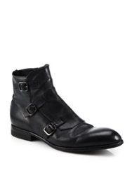 Alexander Mcqueen Triple Monk Strap Leather Ankle Boots Black