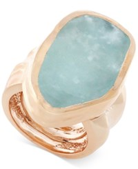 Vince Camuto Rose Gold Tone Blue Stone Chunky Statement Ring