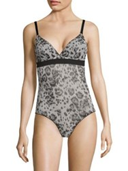 Stella Mccartney Florence Fluttering One Piece Printed Bodysuit Black And White Leopard Print