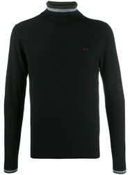 Sun 68 Stripe Detail Roll Neck Jumper Black