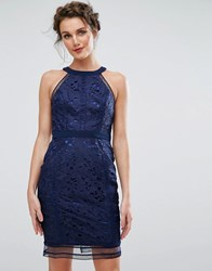 Chi Chi London Cutwork Lace Pencil Dress Navy