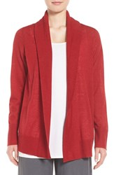 Eileen Fisher Women's Shawl Collar Tencel Blend Cardigan China Red