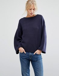 Shae Olivia Cashmere And Wool Mix Wide Neck Jumper Night Combo Navy