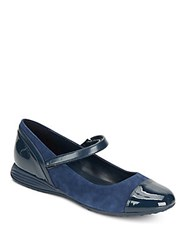 Cole Haan Bria Grand Suede And Patent Leather Mary Jane Flats Blue