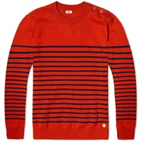 Armor Lux 71926 Heritage Stripe Knit Russet And Marine