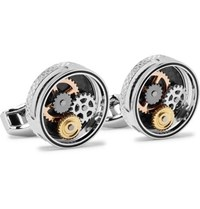 Tateossian Gear Silver Tone And Carbon Fibre Cufflinks Silver