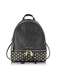 Michael Kors Rhea Zip Black Leather Medium Backpack W Studs