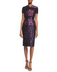 J. Mendel Short Sleeve Floral Jacquard Sheath Dress Mulberry Black Purple